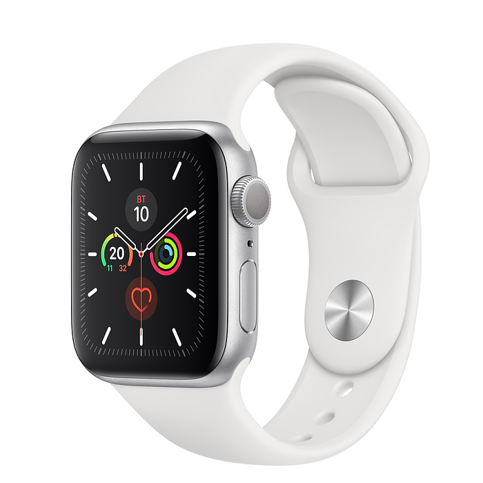 Apple Watch Series 5 40mm Aluminum Case with Sport Band (Серебристый/Белый)