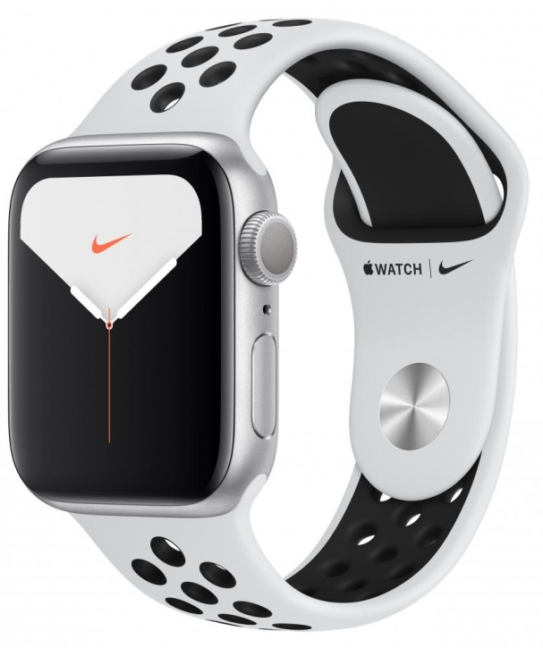 Apple Watch Series 5 GPS 44mm Aluminum Case with Nike Sport Band (Серебристый/Белый)